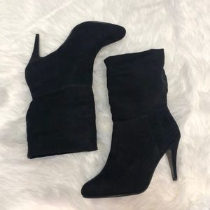 Express black suede boots 3.75 inch heel Size 10